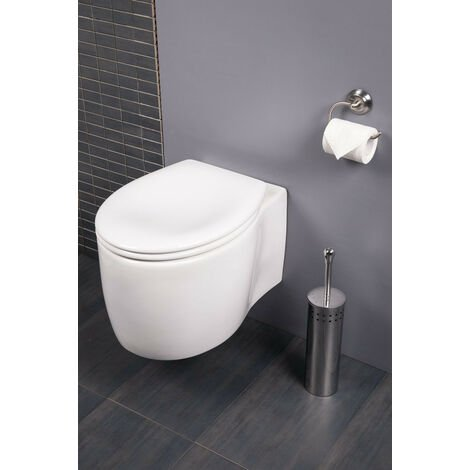 Wall Hung White Ceramic Toilet Space Saving WC and Soft Close Seat
