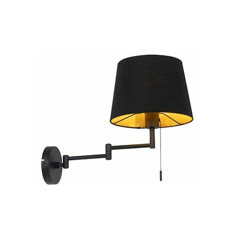 Wall lamp black with black shade and adjustable arm - Ladas