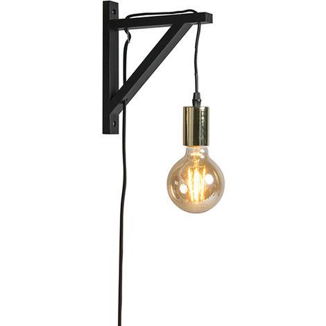 Wall lamp black with gold - hangman