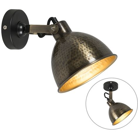 Wall lamp copper with brass adjustable 19.5 cm - Liko