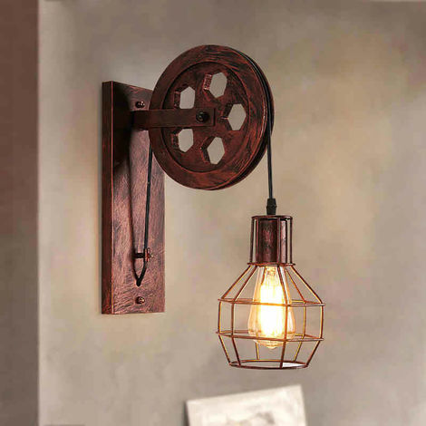 Wall Lamp Creative Retro Industrial Style Wall Lights Loft Style Lifting Pulley Lights Aisle Corridor E27