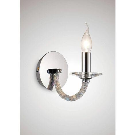 Wall lamp Elena with switch 1 bulb polished chrome / crystal