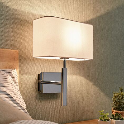 Wall lamp Jettka with fabric lampshade and switch