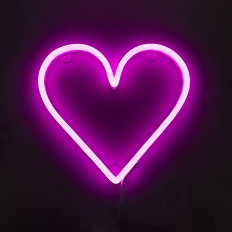 Wall lamp Pink Neon with Remote Control incl. LED - Heart