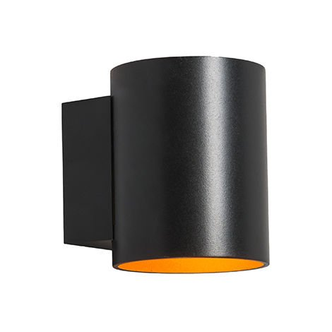Wall lamp round black with gold - Sola
