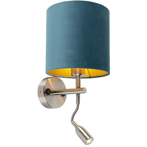 Wall lamp steel with reading lamp and shade velor 20/20/20 blue