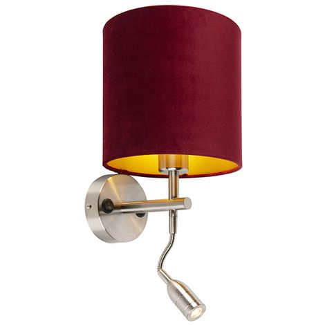 Wall lamp steel with reading lamp and shade velor 20/20/20 red