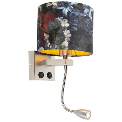 Wall lamp steel with velor shade flowers with gold - Brescia