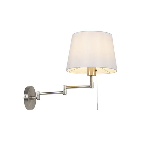 Wall lamp steel with white shade and adjustable arm - Ladas