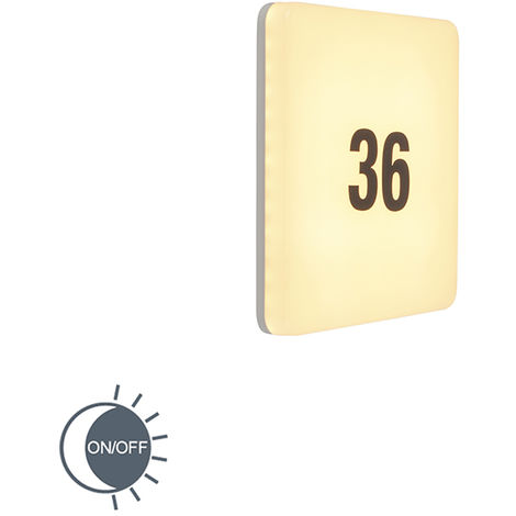 Wall lamp white square incl. LED, light sensor, house number - Plater