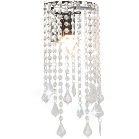 Wall Lamp with Crystal Beads Silver Rectangular E14 Bulbs