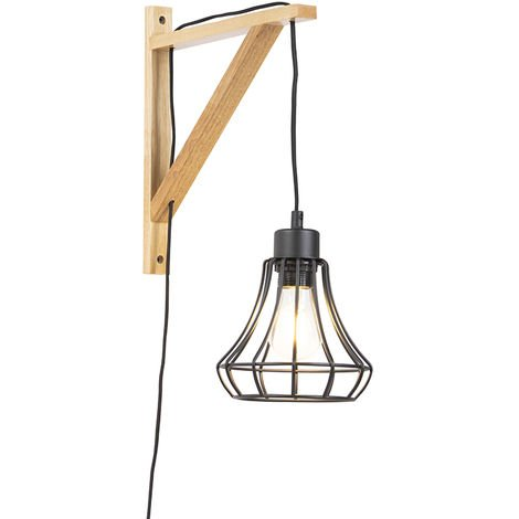 Vintage Wall Lamp Wood with Black Wire Frame Shade - Hangman