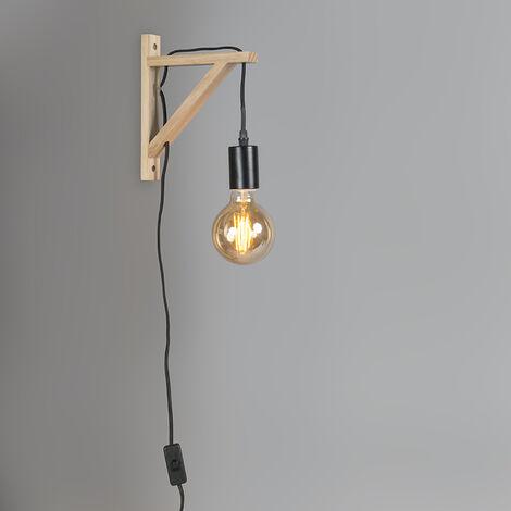 Wall lamp wood with black hangman