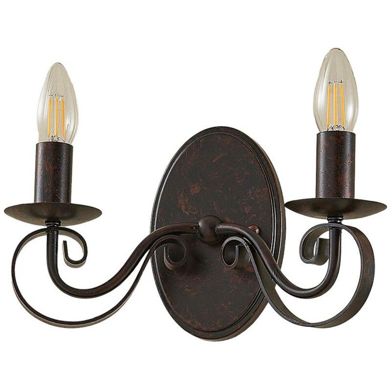 Image of 2-bulb rust-coloured wall light Caleb - LAMPENWELT
