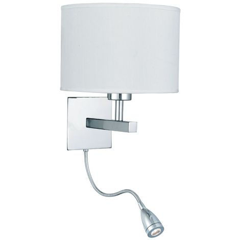 WALL LIGHT - DUAL ARM CHROME - LED FLEXI ARM