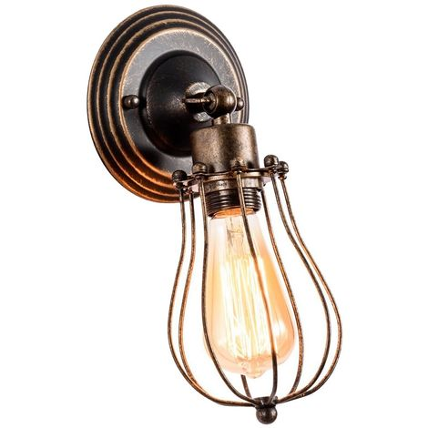 Wall Light Industrial Adjustable Socket Rustic Wire Metal Vintage Lighting Fixture Cage Wall Lamp Retro Sconces Indoor Home Loft,Rust color