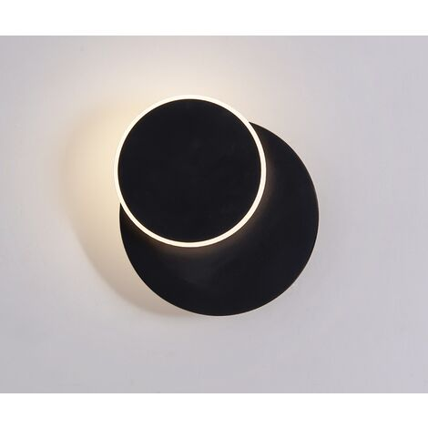 Wall Light LED Wrought Iron Painting Rotary Room Chevet Lamp Interior Decoration Black