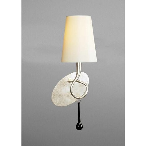 Wall light Paola with switch 1 Bulb E14, painted silver with cream shade & black glass droplets