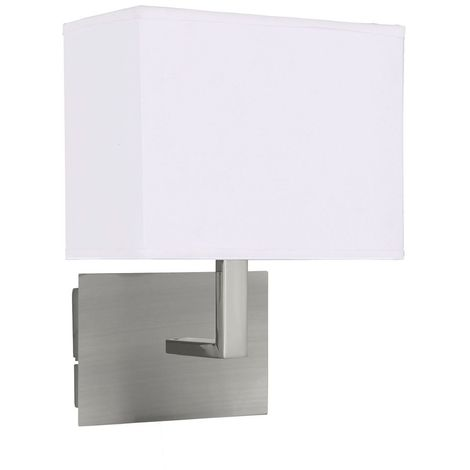 WALL LIGHT SATIN SILVER-WHITE RECTANGULAR SHADE