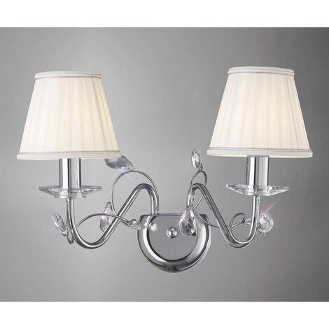 Wall light Willow with Shade 2 lights polished chrome / crystal