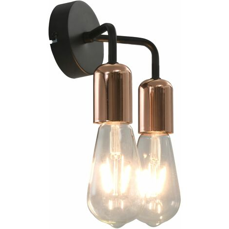 Wall Light with Filament Bulbs 2 W Black and Copper E27