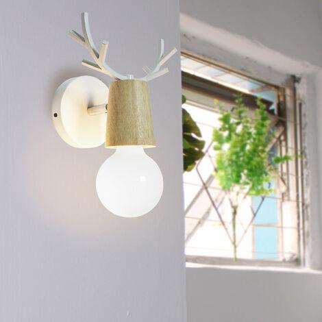 Wall Light,Antlers Wall Lamp Modern Metal Wood Wall Light Creative Christmas Deer Wall Sconce E27 Retro Wall Lamp White