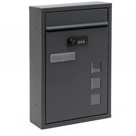 Wall Mailbox anthracite Code Lock Letterbox Postbox Pillar Letter Mail Post Box