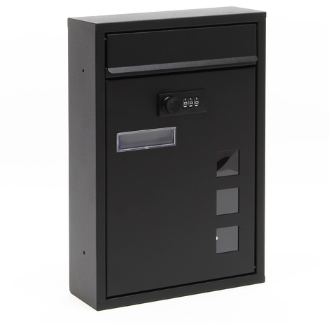 Wall Mailbox black Code Lock Letterbox Postbox Pillar Letter Mail Post Box
