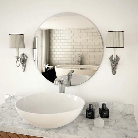 Wall Mirror 60 cm Round Glass - Silver