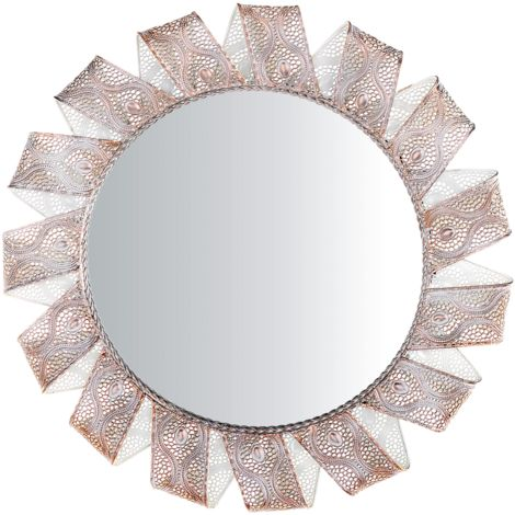 Wall Mirror ø60 cm White with Copper MANGALORE