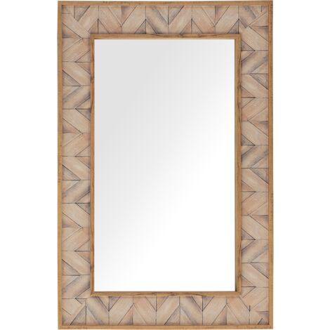 Wall Mirror 60 x 90 cm Light Wood LOPEREC