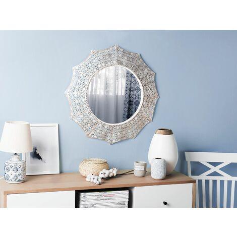 Wall Mirror ø68 cm White with Copper MYSORE