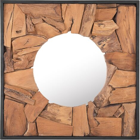 Wall Mirror 70 x 70 cm Light Wood YECORA