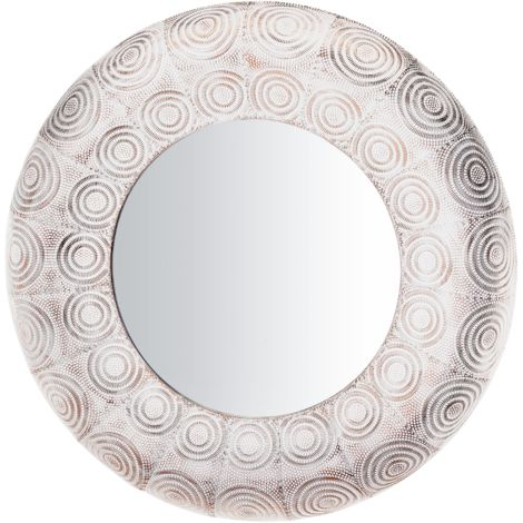 Wall Mirror ø75 cm White with Copper KOLLAM