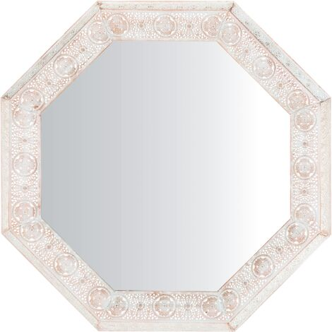 Wall Mirror 84 x 84 cm White with Copper SATARA