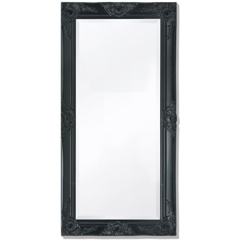 Wall Mirror Baroque Style 100x50 cm Black