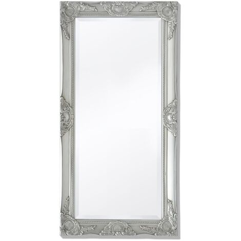 Wall Mirror Baroque Style 100x50 cm Silver