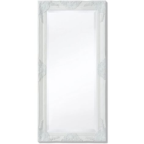 Wall Mirror Baroque Style 100x50 cm White