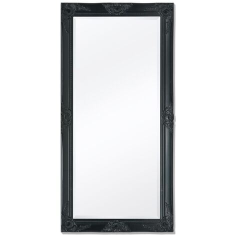 Wall Mirror Baroque Style 120x60 cm Black