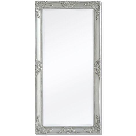 Wall Mirror Baroque Style 120x60 cm Silver
