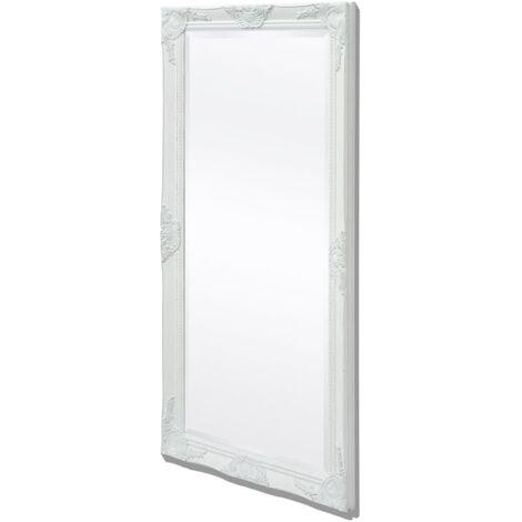 Wall Mirror Baroque Style 120x60 cm White
