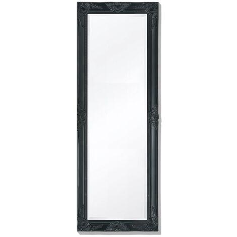 Wall Mirror Baroque Style 140x50 cm Black