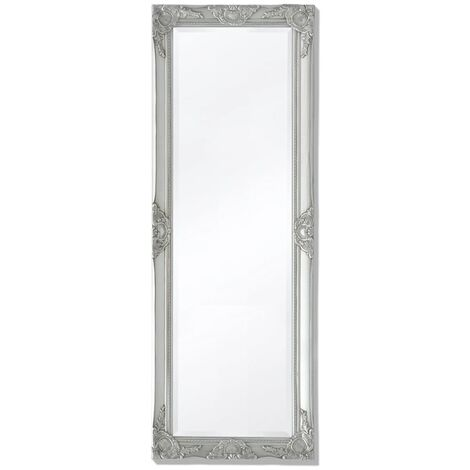Wall Mirror Baroque Style 140x50 cm Silver
