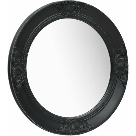 Wall Mirror Baroque Style 50 cm Black