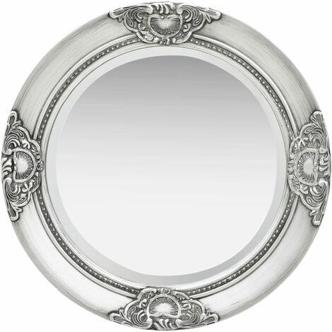 Wall Mirror Baroque Style 50 cm Silver