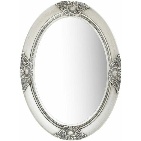 Wall Mirror Baroque Style 50x70 cm Silver
