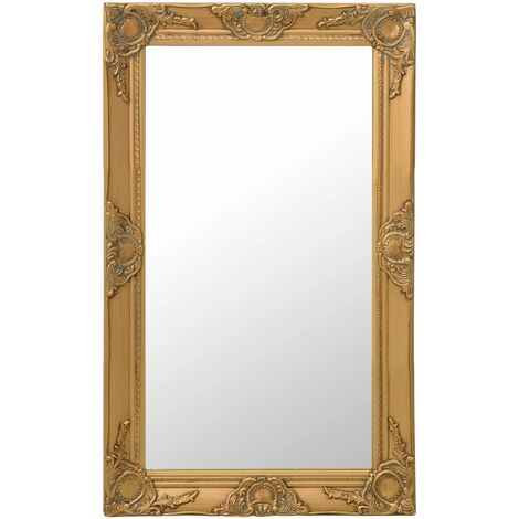 Wall Mirror Baroque Style 50x80 cm Gold