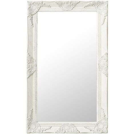 Wall Mirror Baroque Style 50x80 cm White