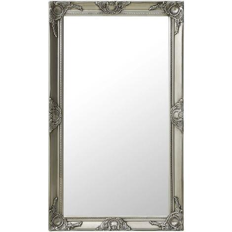 Wall Mirror Baroque Style 60x100 cm Silver