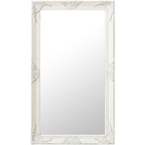 Wall Mirror Baroque Style 60x100 cm White